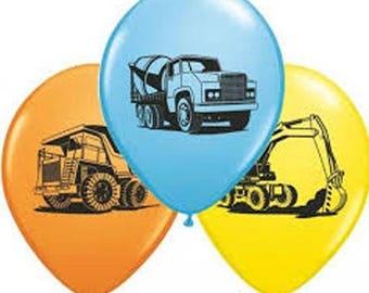 Construction Trucks Balloons, mix of Cement Truck, Digger, Dump Truck Balloons, Construction Party, Packet of 6 balloons