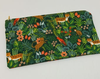 Jungle Boogie Zipper Pouch - makeup bag; pencil case; gift for her; cosmetic bag; carry all; gadget case; birthday; coin purse