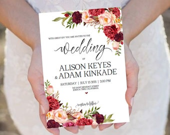Flowers Watercolor Burgundy Wedding Invitation Template -Peonies Invite-DIY Printable Invitations-PDF-Download Instantly| VRD137AF