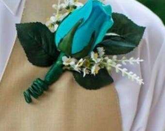 Teal turquoise wedding boutonniere