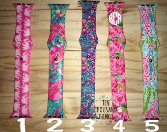 Lilly Pulitzer Inspired Monogrammed/Blank Apple Watch Bands