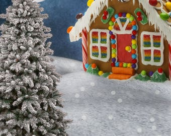 Gingerbread house christmas background