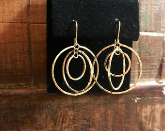 14 k yellow gold chandelier earrings .