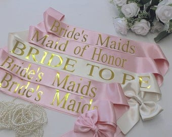 Bridal sash, Wedding sash, Personalized, Bride to be, Bridesmaid sash, Bridal Shower, Bride, Bridal party gift, Bachelorette party, Style M
