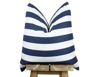 Navy & White Striped Pillow Cover