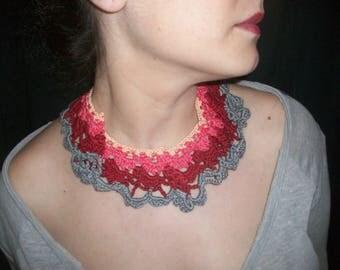 Multi colored crochet necklace