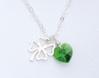 Sterling Silver Four Leaf Clover Best Friends Charm Necklace With Green Swarovski Crystal Heart Dangle, Good Luck Shamrock, Birthday Gift