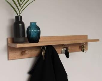 Floating Shelf - Coat Rack - Key Holder - Entryway Organiser - Wall Coat Rack - Mail Organiser