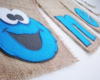 Cookie Monster party garland 1st birthday First high chair banner Sesame street One birthday supplies Baby wall décor Birthday burlap