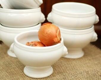 French soup bowls – onion soup bowl - vintage soup bowls – lion head bowls – white porcelain – rustic farmhouse kitchen