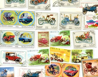 25 Car /Antique Autos Stamps Worldwide Used & Unused
