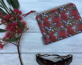 SALE* Red Flowering Clutch - Iphone Pouch - coin Purse - Makeup Bag - Australian purse - Australian Native Purse