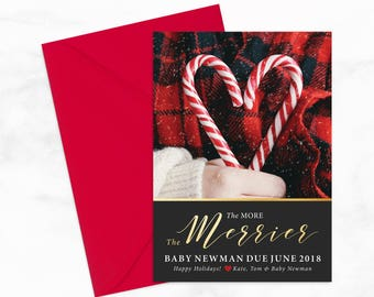 "The More the Merrier Holiday Pregnancy Announcement & Christmas Card by Arbor Grace Collections, 5"" x 7"" PRINTABLE Mailer"