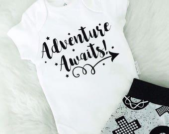 Adventure awaits baby vest, new baby vest, baby clothes, adventure awaits baby vest, adventure vest, newborn vest, baby shower vest