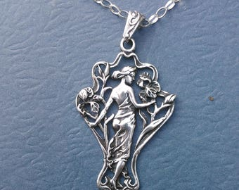 Sterling Silver Art Nouveau Pendant Necklace