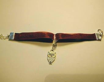 satin and organza OWL pendant bracelet