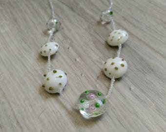 Lovely seed beads and lampwork beads necklace