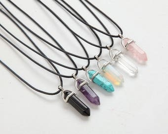Hexagonal Column Necklaces Natural Crystal Pendants Pink Purple Stone Pendant Leather Chains Necklace For Women Fine Jewelry