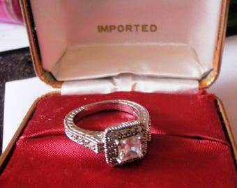 Sterling Silver 925 cz antique art deco ring size 6  weight 4.4g