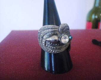 vintage STERLING SILVER RHINESTONE ring large statement ring  adjustable