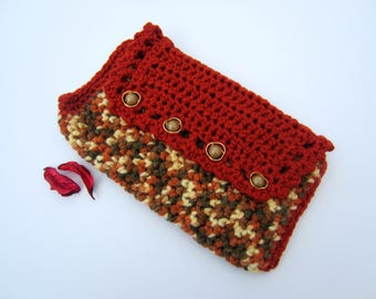 Pouch or toiletry bag crochet multicolor and rust
