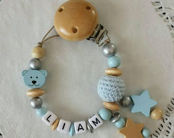 Personalized Pacifier clip, soother clip, dummy holder, baby boy, Baby shower gift