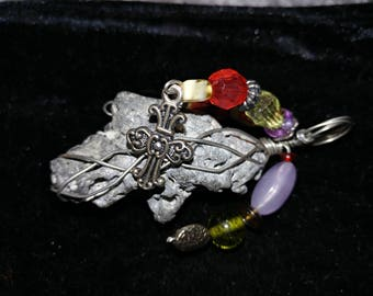 Shimmering sea rock, beaded wire wrapped pendant