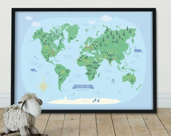 World Map For Kids Etsy - World map for playroom