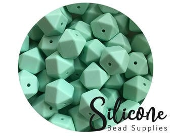 17mm -Mint Hexagon Silicone Beads, Silicone Teething Beads, 100% Food Grade Silicone Beads, BPA Free, Silicone Loose Bead