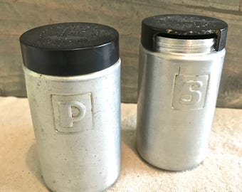 Vintage Salt and Pepper Set Aluminum