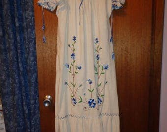 Calico Maxi Dress with blue embroidery