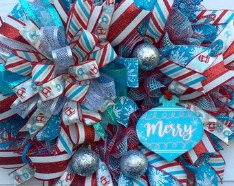 Holiday Wreath, Turquoise Wreath, Christmas Wreath, Best Door Wreath, Front Door Wreath, Custom Wreath, Winter Wreath, Whimsical Wreath