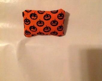 Halloween Catnip Pillow - Orange with Black pumpkins