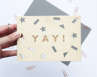 YAY! Celebration Wooden Postcard - Laser Cut Wood Card, Wood Postcard, Wooden Card, Gift for Her, Gift for Him, Birthday Card