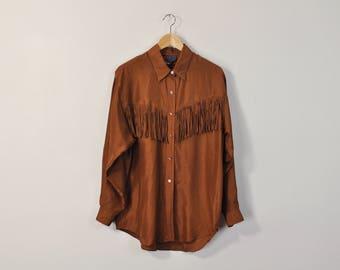 Silk Fringe Blouse, Vintage 90s Blouse, 90s Minimal Blouse, 90s Fringe Blouse, Oversized Silk Shirt, Long Sleeve Shirt, Simple Brown BLouse