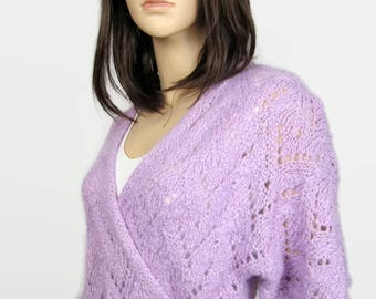 LILAC - Sweetheart women openwork handknitted - T 40 (M) - hand knitted sweater vest