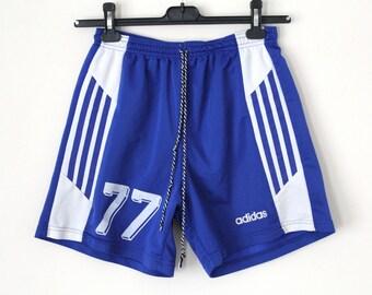 Vintage Adidas Shorts 90's Adidas Sport Shorts Adidas Football Shorts Made in England Blue Adidas Running Shorts Adidas Soccer Shorts Size M