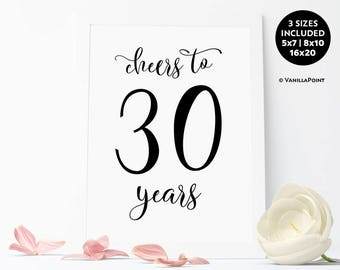 Cheers To 30 Years Sign,30th Birthday Decoration For Him For Men, 30th Birthday For Him For Men, Printable Rustic Birthday Party Decorations