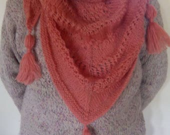 Hand knitted shawl scarf / shawl with of the mohiar