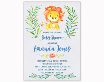 Lion Baby Shower Invitation, Watercolor Baby Shower Invitation, Jungle Safari Baby Shower, Printable Invitation