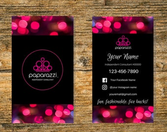 Paparazzi Business Cards - 3.5x2, Free Personalized, Paparazzi Jewelry Consultant Card, For Vistaprint or Home Printing Portrait Style