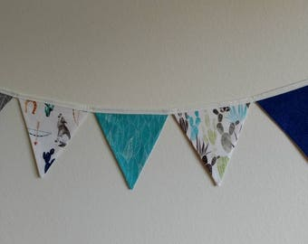 Desert Cactus Bunting - blue, 5 flag bunting *Ready to ship!*