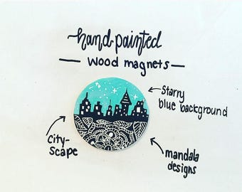 Hand painted magnet- City-scape- wood- circle
