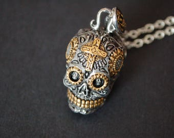 Day of the dead 3D skull necklace