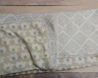 Baby Blanket, Flannel Blanket, Elephant Nursery Bedding, Gender Neutral Baby Bedding, Tan Infant Blanket,