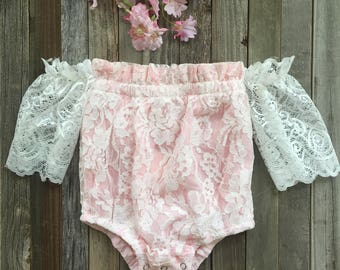 Baby girl romper, off the shoulder lace romper