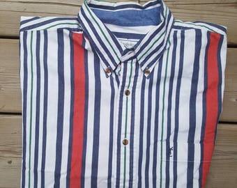 Yves Saint Laurent YSL Vintage Mens Buttton Up Shirt Size Medium Vintage Stripes