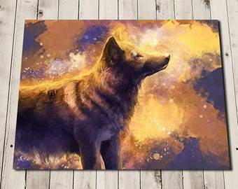 Wolf Painting - Wolf Pictures - Abstract Wolf Art - Wolf Artwork Print - Black Wolf - Wolfprint -  Wolf Illustration - Fantasy Wolf Art