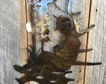 Sleeping Hunter Moose Antler Metal Art