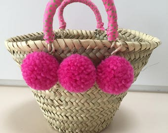 Small Ibizatasche basket for children with pompoms